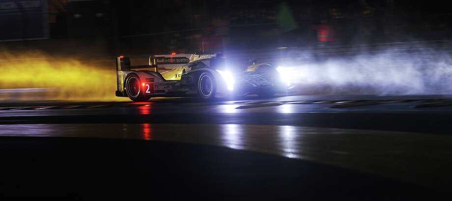 Frennch driver Loic Duval steers the Audi R18 e-tron quattro N∞2 during the Le Mans 24 Hours endurance race on June 23, 2013, in Le Mans, western France. Photo: AFP, AFP/Getty Images / 2013 AFP