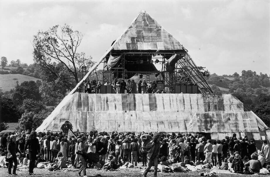 1971:  The second annual Glastonbury music festival, which saw the first use of a pyramid stage. Photo: Ian Tyas, Getty Images / Hulton Archive