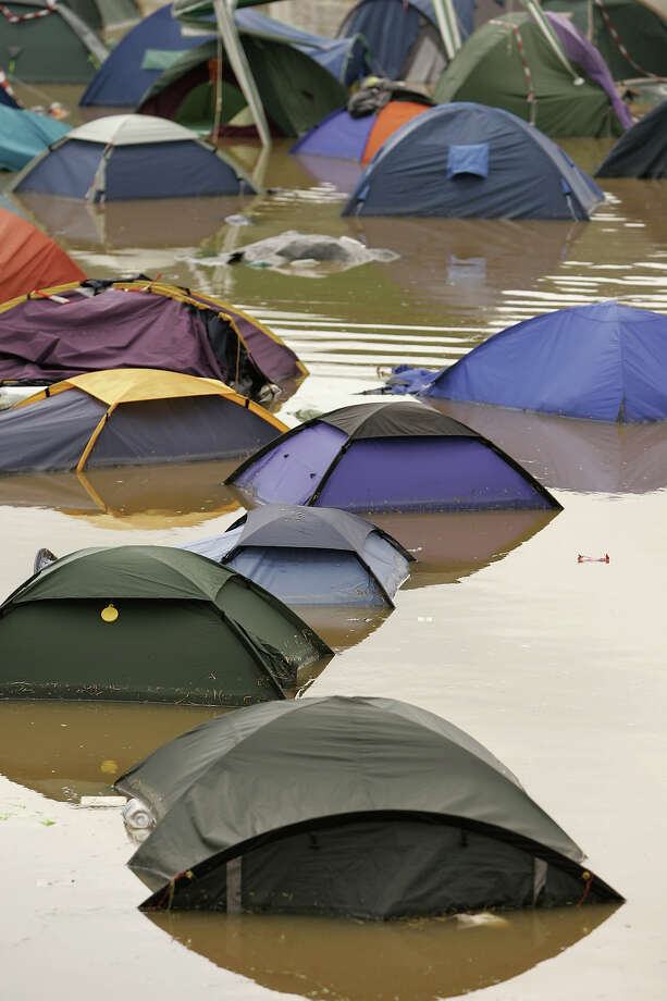 2005: Flooded tents at Glastonbury. Photo: Jon Super, Redferns / Redferns