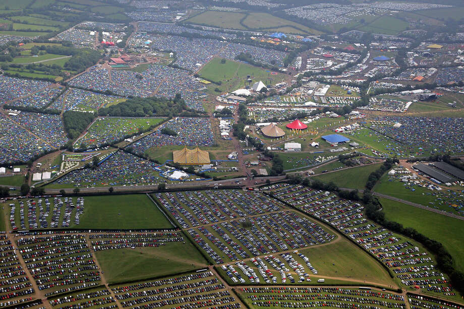 2009: Cars and tents can be seen from the air at the Glastonbury Festival site at Worthy Farm, Pilton on June 25, 2009 near Glastonbury, England. Photo: Matt Cardy, Getty Images / 2009 Getty Images