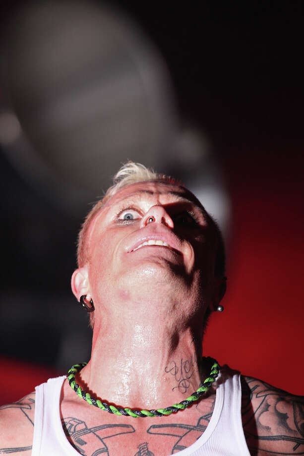 2009: Keith Flint, vocalist with The Prodigy performs on the Other Stage at the Glastonbury Festival at Worthy Farm, Pilton on June 28, 2009 near Glastonbury, England. Photo: Matt Cardy, Getty Images / 2009 Getty Images