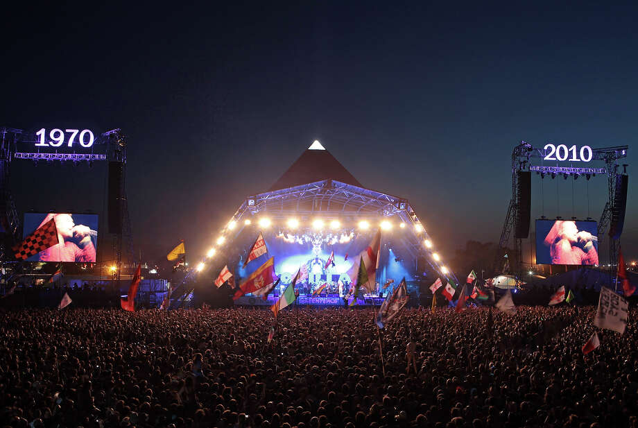 2010: The Gorillaz perform on the Pyramid Stage at Glastonbury Festival  at the 2010 40th Glastonbury Festival at Worthy Farm, Pilton on June 25, 2010 in Glastonbury, England. Photo: Matt Cardy, Getty Images / 2010 Getty Images