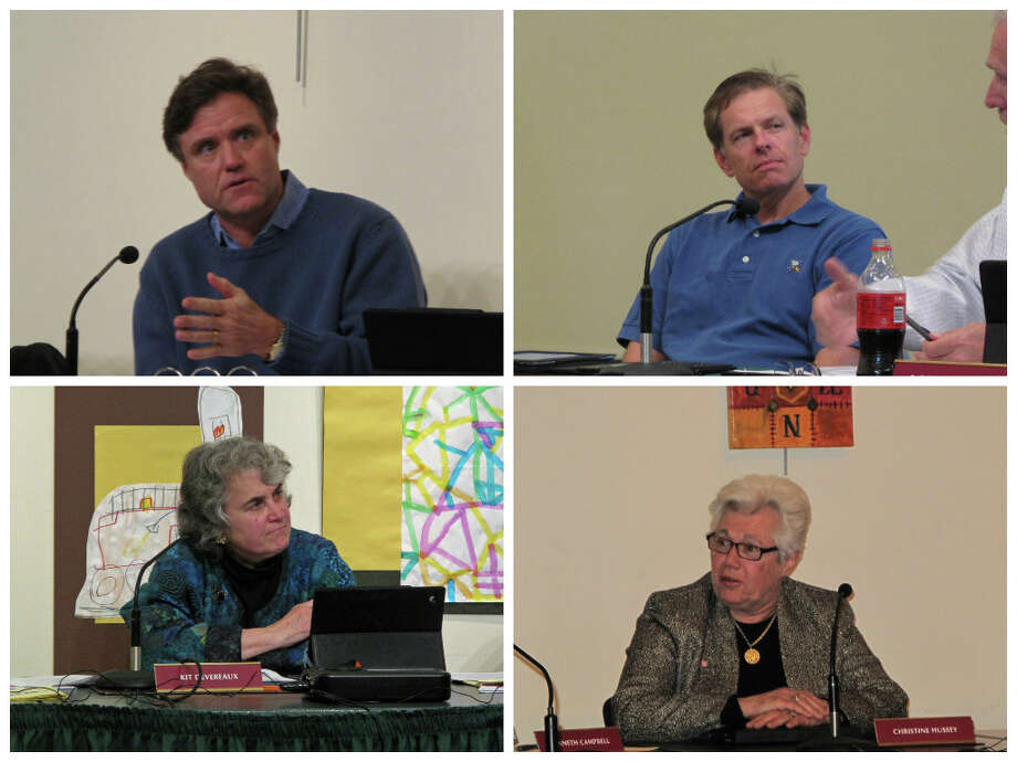 Four Town Council members are retiring this year. Clockwise from top left: Mark DeWaele (R), Bob Hamill (R), Kit Devereaux (D), Christine Hussey (D). Photo: Tyler Woods