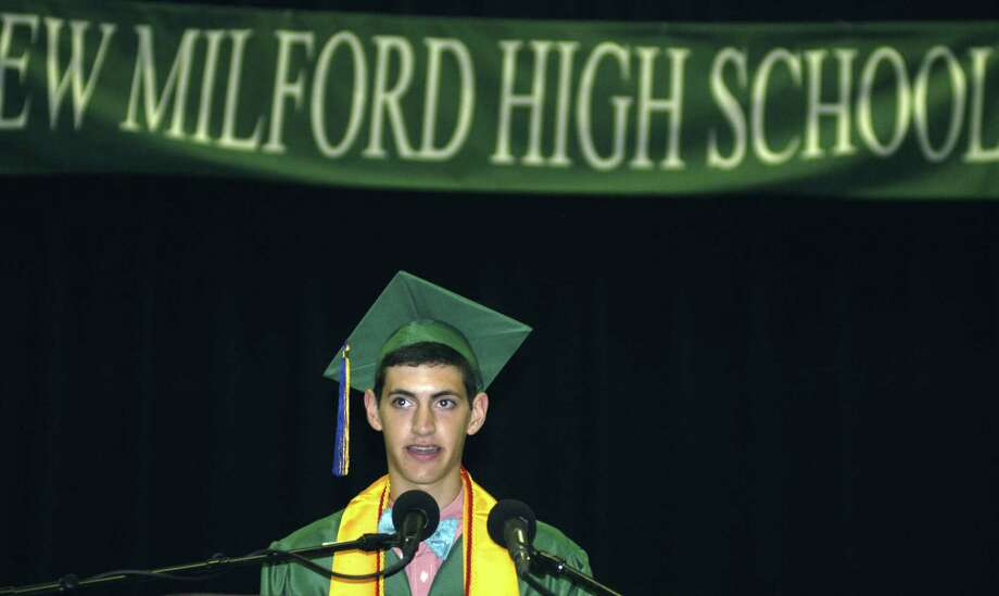 Class of 2013 president Ben Lawson addresses the crowd of about 4,000 during New Milford High School's commencement exercises at the O'Neill Center on the campus of Western Connecticut State University in Danbury. June 22, 2013 Photo: Norm Cummings