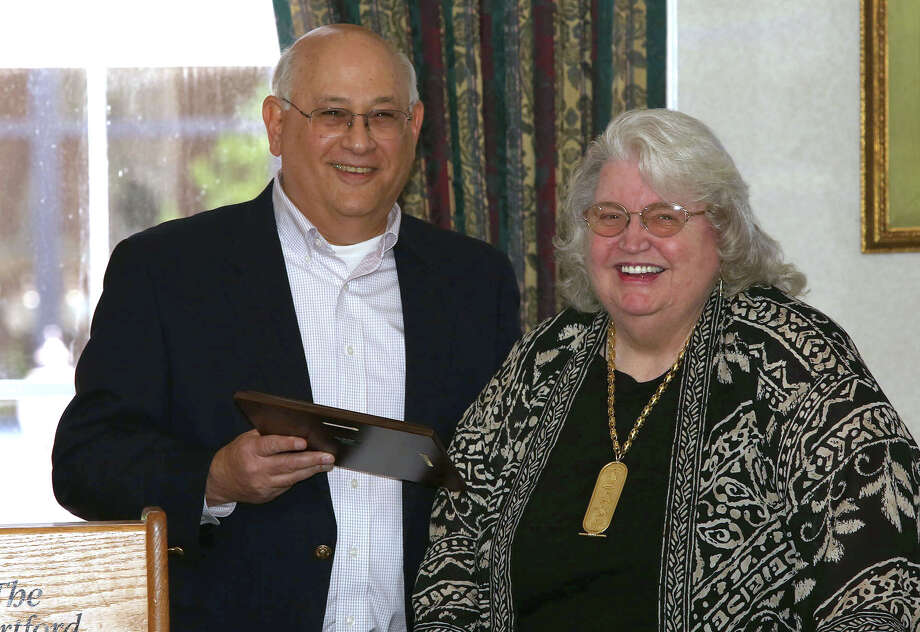 Former state Freedom of Information Commission member Norma Riess receives CCFOI's Champion of Open Government Award from CCFOI Executive Board member Mitchell Pearlman. Photo: Contributed Photo / The News-Times Contributed