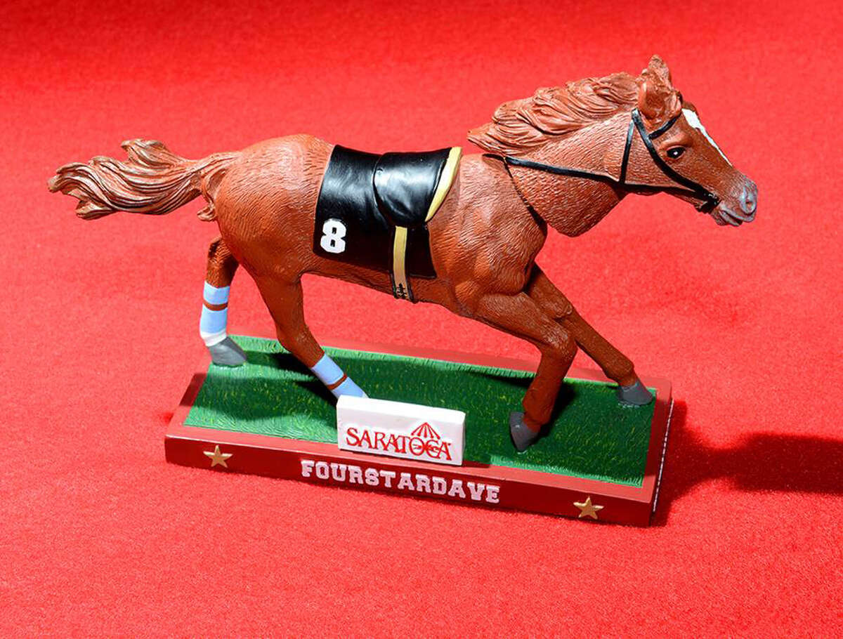 The Fourstardave bobble head is one of this year's giveaways that was unveiled at the 2013 Saratoga Race Meeting press conference June 24, 2013. (Handout)
