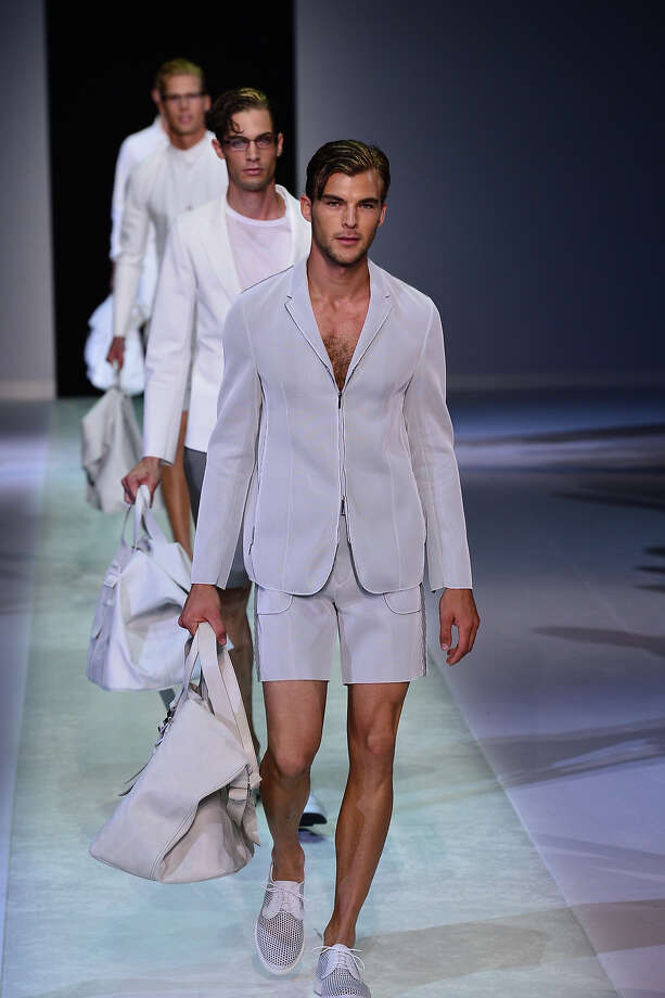 """The Hairy Schoolboy""From the Emporio Armani Menswear Spring-Summer 2014 collection. Photo: AFP, AFP/Getty Images / 2013 AFP"