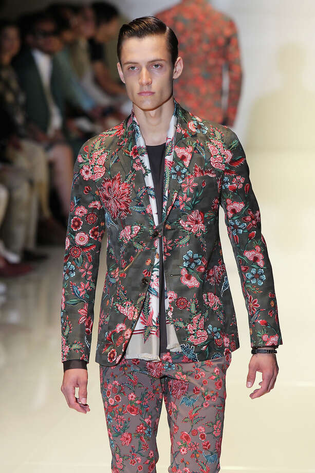 """""""The Your Grandma's Curtains""""From Gucci's spring and summer 2014 collection. Photo: Antonio De Moraes Barros Filho, WireImage / 2013 Antonio de Moraes Barros Filho"""