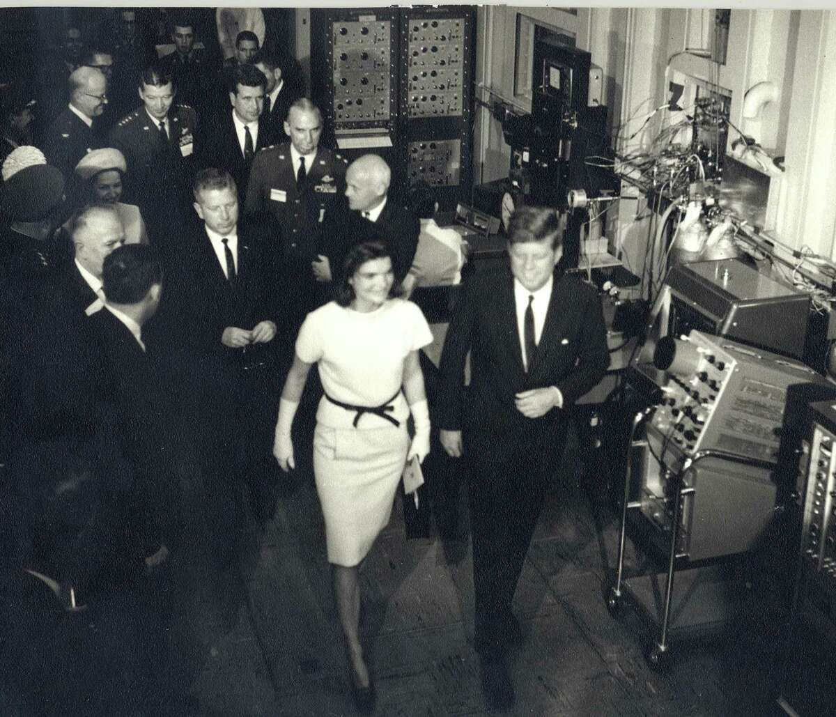 President John F. Kennedy and his wife, Jacqueline, tour the hyperbaric chamber at Brooks AFB on Nov. 21, 1963.