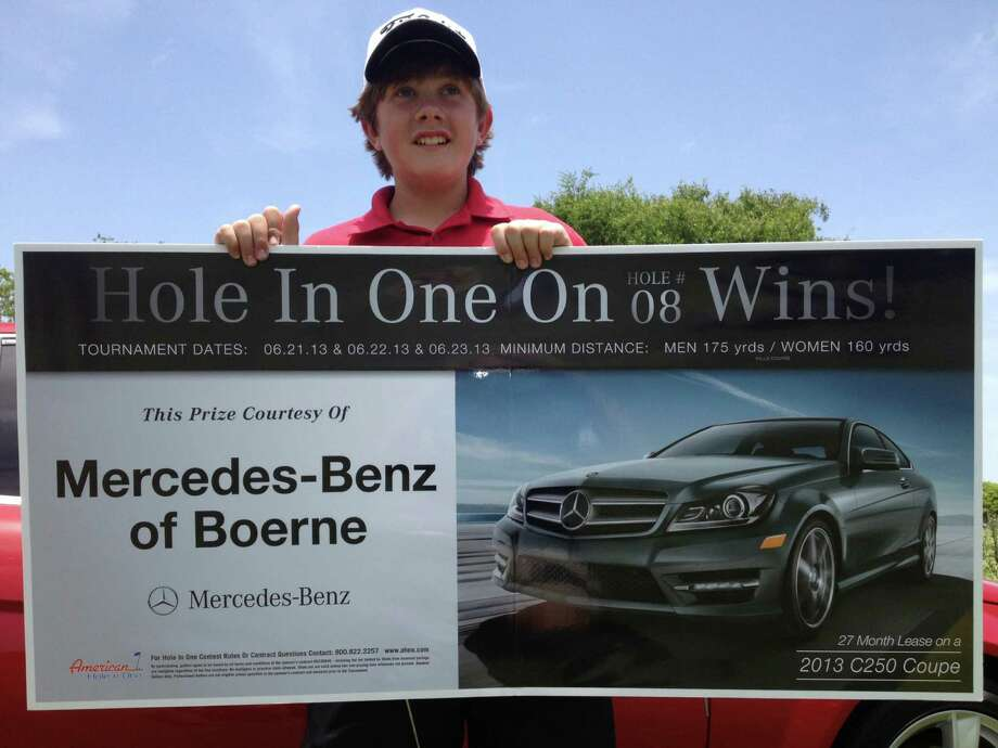 """We were all just yelling and screaming,"" Dalton, 13, of Weatherford, Okla., said Monday. Golfers on a nearby tee also cheered, as did official observers under the tent by the Mercedes, which was draped in a banner reading, ""Hole In One Wins!"" Photo: Courtesy Photo"