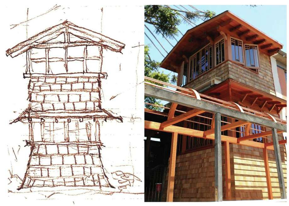 On the left, Kip Mesirow's original sketch, done immediately following the fire, and on the right, the finished product. Photo: Chez Panisse