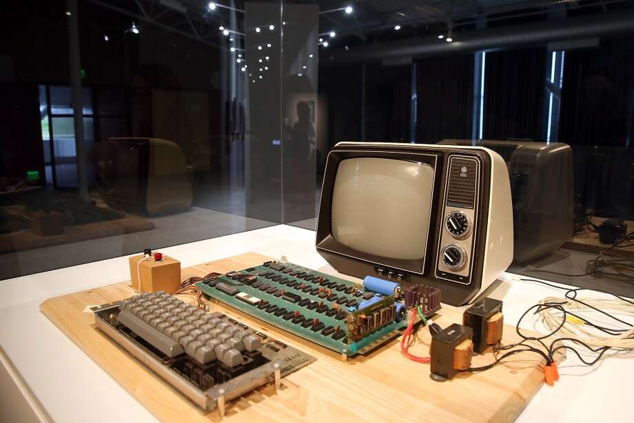 An Apple-1 computer, built in 1976, is displayed during the First Bytes: Iconic Technology From the Twentieth Century, an online auction featuring vintage tech products at the Computer History Museum on June 24, 2013 in Mountain View, California.