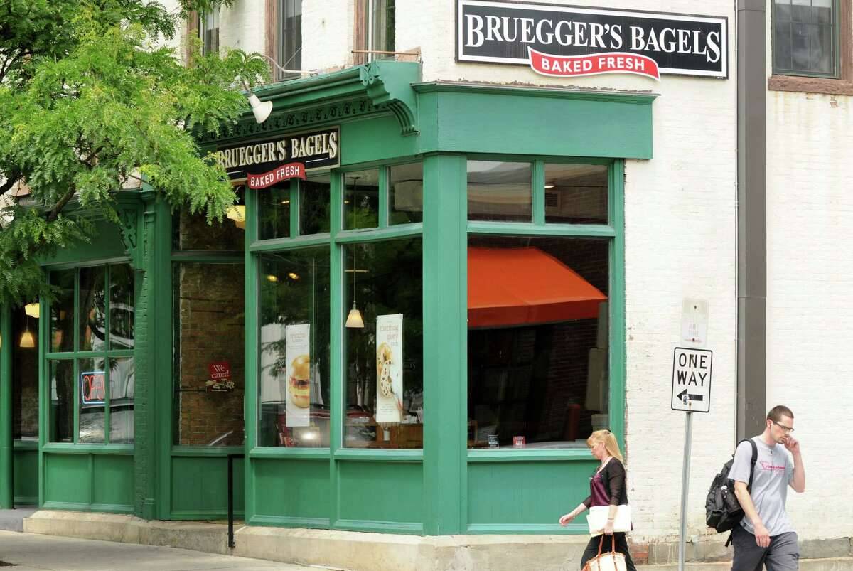 Exterior of Bruegger's Bagels on Congress Street Monday, June 24, 2013, in Troy, N.Y. Bruegger's will celebrate its 30th anniversary on Tuesday. The Troy store was the company?s first. (Will Waldron/Times Union)