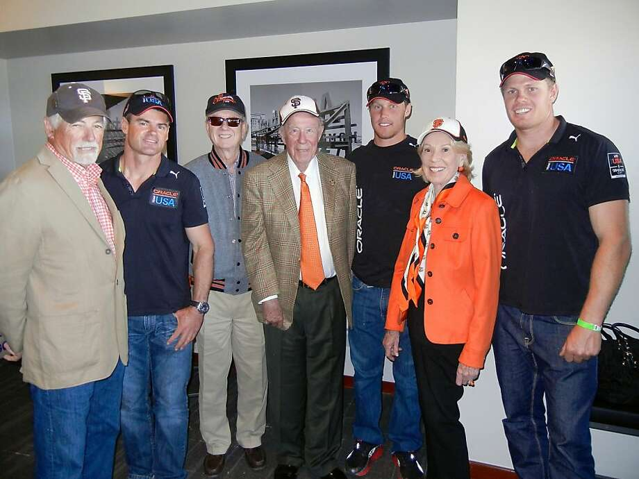 Mark Buell (left), Darren Bundock, Tom Horn, George Shultz, Rome Kirby, Charlotte Shultz and Sam Newton at AT&T Park. Photo: Catherine Bigelow, Special To The Chronicle