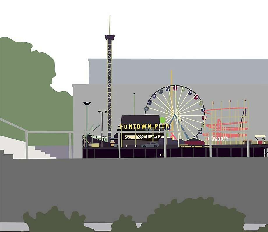 Kota Ezawa's tribute to the boardwalk in Seaside Heights, N.J., will be on exhibit at Yerba Buena Center for the Arts. Photo: Courtesy Of YBCA And The Artist.