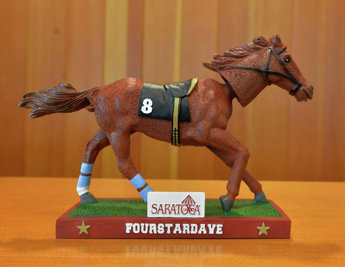 The Fourstardave bobble head is one of this years giveaways that was unveiled at the 2013 Saratoga Race Meeting press conference June 24, 2013 held at the Fasig Tipton sales pavilion in Saratoga Springs, N.Y. (Handout)