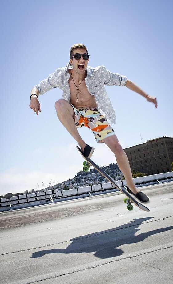 Men's Board Shorts Stylist:  Kizza Chadiha Model:  Tyler/Look Model Agency Hair/Makeup:  Sonja Tam Photo assistant:  Katie Meek Skateboards: Courtesy of Iris Skateboards Courtesy of Andy Kuno Surfboard:  Courtesy of Hess Surfboards Photo: Russell Yip, The Chronicle