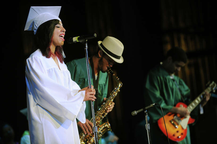 From left; A jazz trio of Alexandria Garcia, Francisco Santiago, and James Cochran perform during the Bassick High School graduation at the Klein Memorial Auditorium in Bridgeport, Conn. on Monday, June 24, 2013. Photo: Brian A. Pounds / Connecticut Post