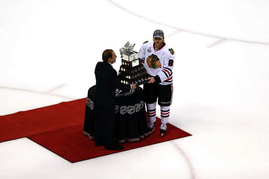 BOSTON, MA - JUNE 24:  Commissioner Gary Bettman names Patrick Kane #88 of the Chicago Blackhawks the winner of the Conn Smythe Trophy after defeating the Boston Bruins in Game Six of the 2013 NHL Stanley Cup Final at TD Garden on June 24, 2013 in Boston, Massachusetts. Photo: Elsa, Getty Images / 2013 Getty Images