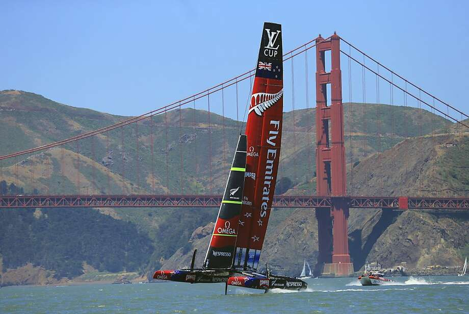 The New Zealand team practices for the America's Cup on the bay in San Francisco, May 30, 2013. Rules set for the America's Cup by the 2010 winner of the race, Larry Ellison, the tech titan who had spent hundreds of millions of dollars trying to capture sailing's ultimate prize, has some worried the event won't be successful. (Jim Wilson/The New York Times) Photo: Jim Wilson, New York Times