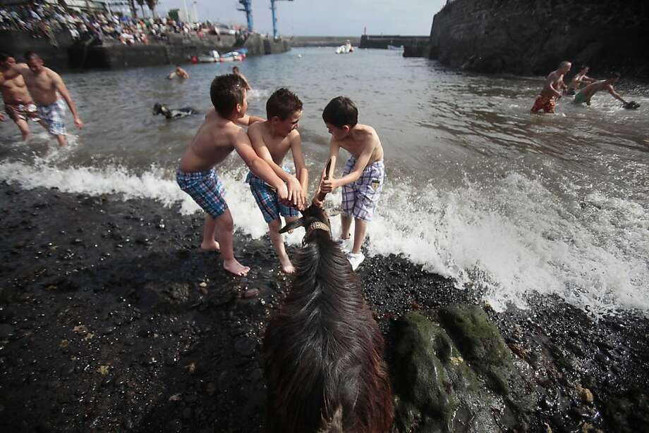 """TOPSHOTS Children try to pull a goat into the water during the ritual """"Bano de las Cabras"""" (bathing of the goats), as part of the traditional San Juan (Saint John) festival, on a beach of Puerto de la Cruz on the Spanish Canary island of Tenerife on June 24, 2013.   AFP PHOTO / DESIREE MARTINDESIREE MARTIN/AFP/Getty Images Photo: Desiree Martin, AFP/Getty Images"""