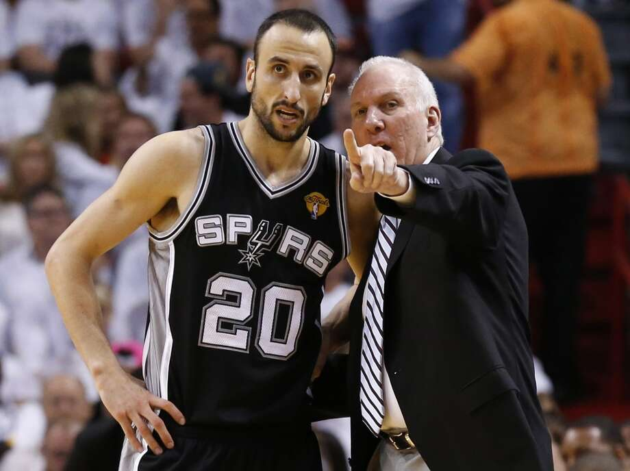 Before he was coach of the Spurs, even Gregg Popovich was ...  PHOTO: Popovich talks to Manu Ginobili during Game 7 of the NBA Finals on June 20, 2013, at American Airlines Arena in Miami. (Edward A. Ornelas / San Antonio Express-News) Photo: Edward A. Ornelas, San Antonio Express-News