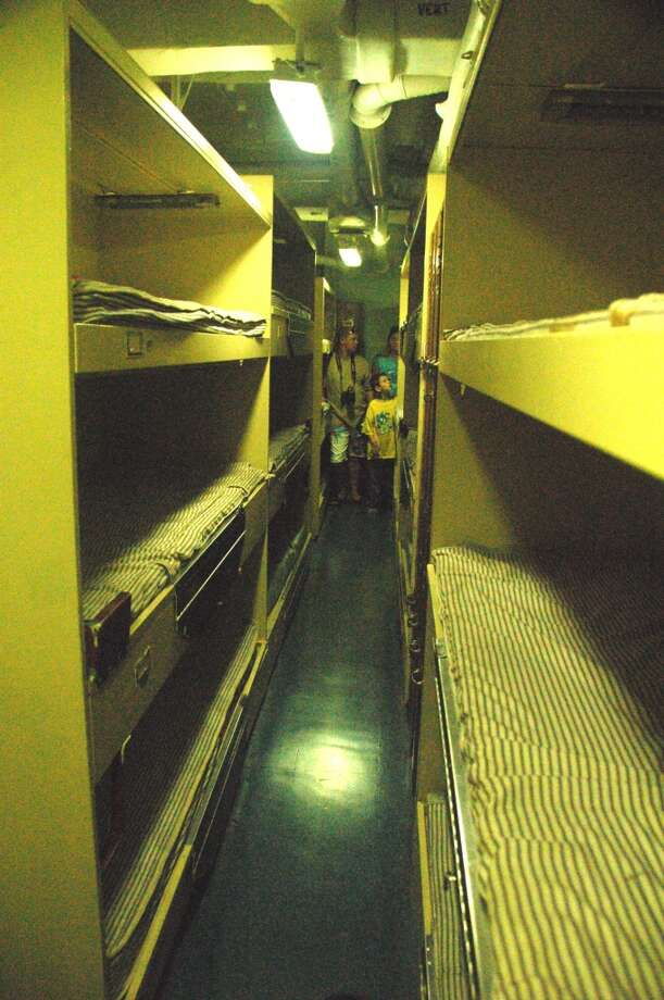 Living conditions for the average sailor belowdecks  were cramped, as visitors soon discover. Some 2,700 enlisted men and officeres lived on the USS Missouri during its World War II and Korean War-era service.