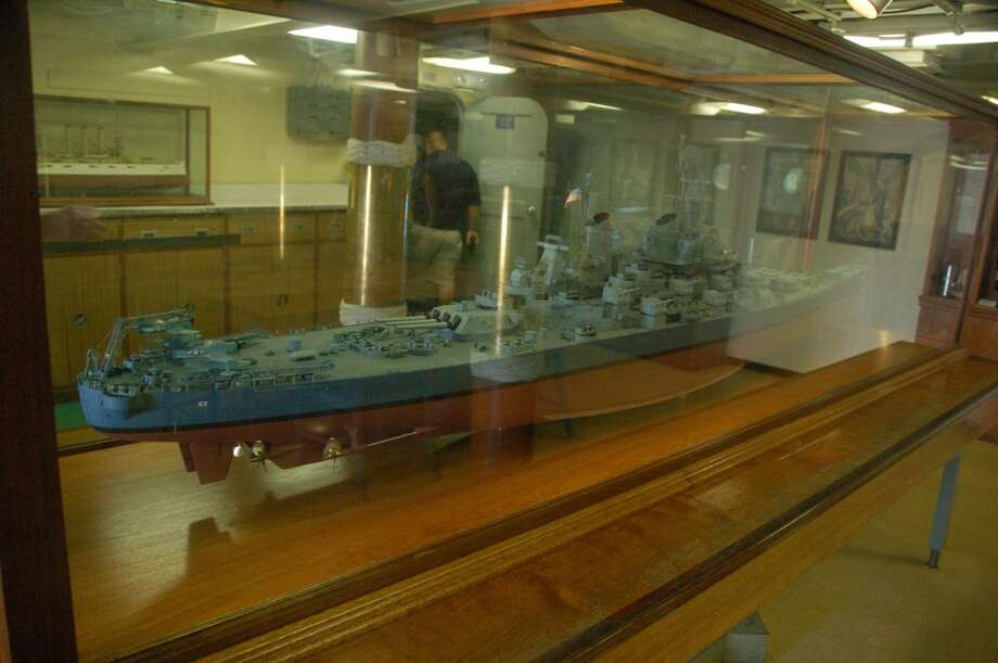 Ship within a ship: A model of the USS Missouri seems to float belowdecks.