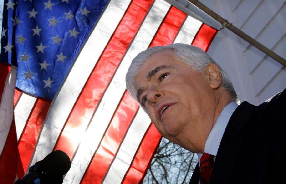 U.S. Sen. Christopher Dodd, D-Conn, announces that he will retire after his current term outside his home in East Haddam, Conn., Wednesday Jan. 6, 2010. Dodd, who served five terms, is chairman of the Senate Banking Committee and made an unsuccessful bid for the presidency in 2008. (AP Photo/Charles Krupa)