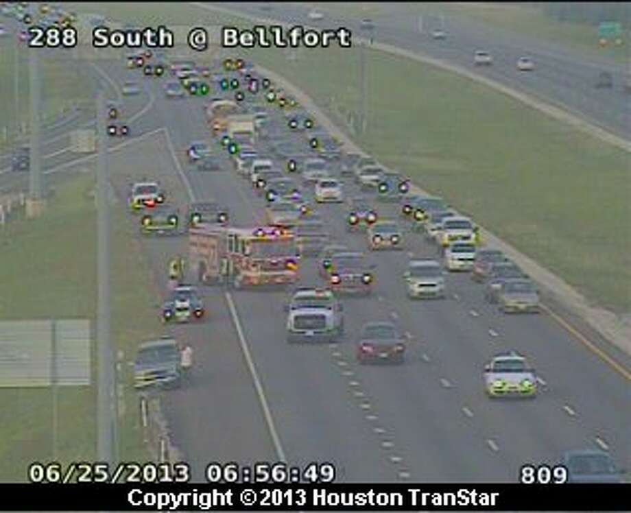Traffic was slowed on the South Freeway near Bellfort after crash about 6:40 a.m. Photo: Houston Transtar