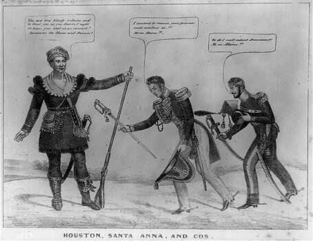 "'Bloody villains'1836 - Houston, Santa Anna, and Cos: A political cartoon published shortly after the Battle of San Jacinto shows Mexican commander Santa Anna and his brother-in-law General Martin Perfecto de Cos bowing before Texas leader Samuel Houston. Santa Anna offers his sword to Houston, saying, ""I consent to remain your prisoner, most excellent sir!! Me no Alamo!!"" His subordinate follows suit. Houston, clad in buckskins and holding a musket, says, ""You are two bloody villains, and to treat you as you deserve, I ought to have you shot as an example! Remember the Alamo and Fannin!"" The print reflects the intensity of anti-Mexican feeling in the United States after Santa Anna's massacre of American defenders at the Alamo mission in February 1836 and the slaughter at Goliad, Texas, a month later of American colonel James Fannin and his surrendered troops."