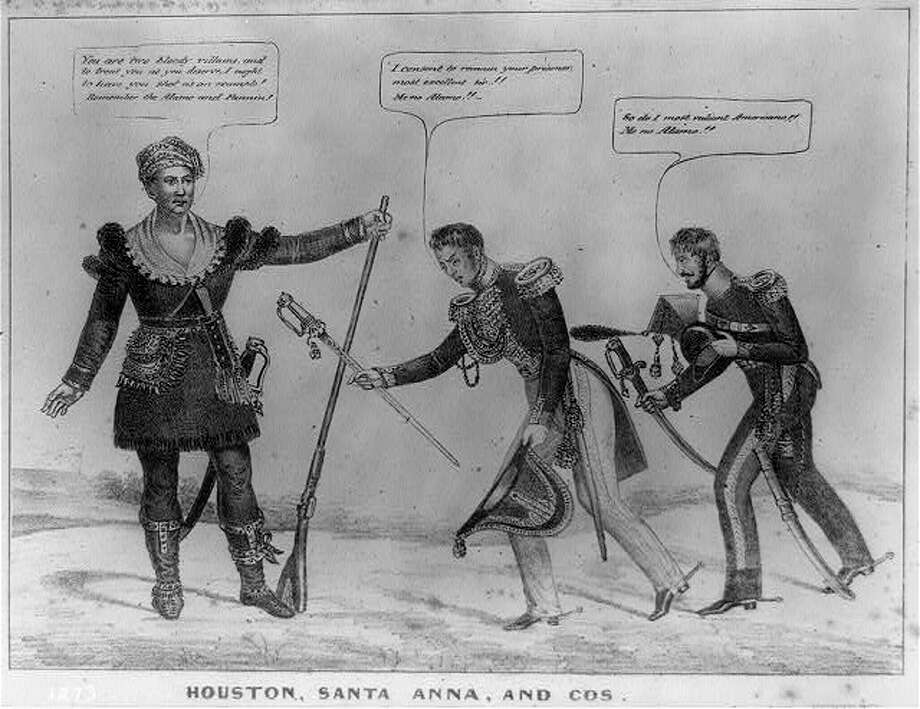 """'Bloody villains'1836 - Houston, Santa Anna, and Cos: A political cartoon published shortly after the Battle of San Jacinto shows Mexican commander Santa Anna and his brother-in-law General Martin Perfecto de Cos bowing before Texas leader Samuel Houston. Santa Anna offers his sword to Houston, saying, """"I consent to remain your prisoner, most excellent sir!! Me no Alamo!!"""" His subordinate follows suit. Houston, clad in buckskins and holding a musket, says, """"You are two bloody villains, and to treat you as you deserve, I ought to have you shot as an example! Remember the Alamo and Fannin!"""" The print reflects the intensity of anti-Mexican feeling in the United States after Santa Anna's massacre of American defenders at the Alamo mission in February 1836 and the slaughter at Goliad, Texas, a month later of American colonel James Fannin and his surrendered troops."""