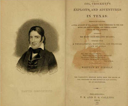 "'A new row to hoe, a long and rough one'1836 - ""Col. Crockett's exploits and adventures in Texas:"" Writes Crockett at the start of his trip, ""As my country no longer requires my services, I have made up my mind to go to Texas. My life has been one of danger, toil, and privation, but these difficulties I had to encounter at a time when I considered it nothing more than right good sport to surmount them ; but now I start anew upon my own hook, and God only grant that 't may be strong enough to support the weight that may be hung upon it. I have a new row to hoe, a long and a rough one, but come what will I'll go ahead."""