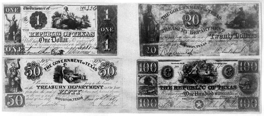 Texas notes1837-1841 - Texas notes: $1, $20, $50 and $100 notes from the Republic of Texas Treasury Department.