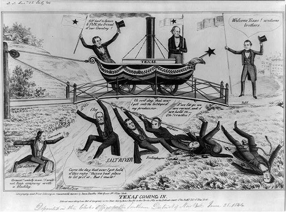 "Texas Coming In1844 - Texas Coming In: A pro-Democrat cartoon forecasting the collapse of Whig opposition to the annexation of Texas. James K. Polk, the expansionist candidate, stands at right near a bridge spanning ""Salt River."" He holds an American flag and hails Texans Stephen Austin (left) and Samuel Houston aboard a wheeled steamboat-like vessel ""Texas."" Austin, waving the flag of the Lone Star Republic, cries, ""All hail to James K. Polk, the frined [sic] of our Country!"""
