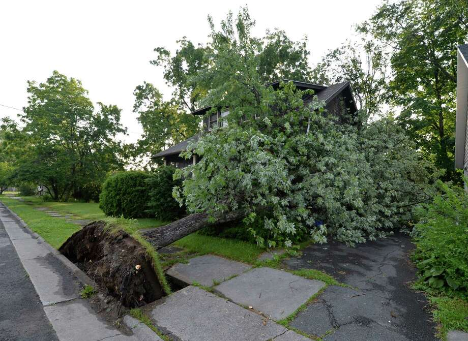 A large tree lies on a home at 2010 10th Street June 25, 2013 after a severe storm hit Rensselaer N.Y. last evening.   (Skip Dickstein/Times Union) Photo: SKIP DICKSTEIN