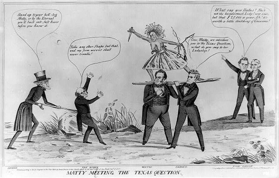 """The ugly hag1844 - Matty Meeting the Texas Question: The opposition of Texas statehood by Martin """"Matty"""" Van Buren was a large reason he failed to win re-election in 1844, many believe. This cartoon was a satire on the Democrats' approach to the delicate question of annexation. The artist here presents Texas as the ugly hag War or Chaos, brandishing a dagger, pistols, whips, and manacles. She embodies the threat of war with Mexico, feared by American opponents of annexation. The whips and manacles in her left hand may also allude to slavery, whose expansion into the new territory was desired by southern annexationists."""