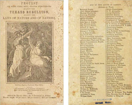 "A 'Friend of Man'1844 - Protest of Some Free Men, States and Presses Against the Texas Rebellion Against the Laws of Nature and of Nations - This 1844 anti- Texas annexation book began with a list of notable names, publications and even nations who opposed Texas joining the United States. Most opposed based on Texas pro-slavery status. Essayists within the book included former president John Quincy Adams, Mexican general Antonio Lopez de Santa Anna and something called ""Friend of Man."""