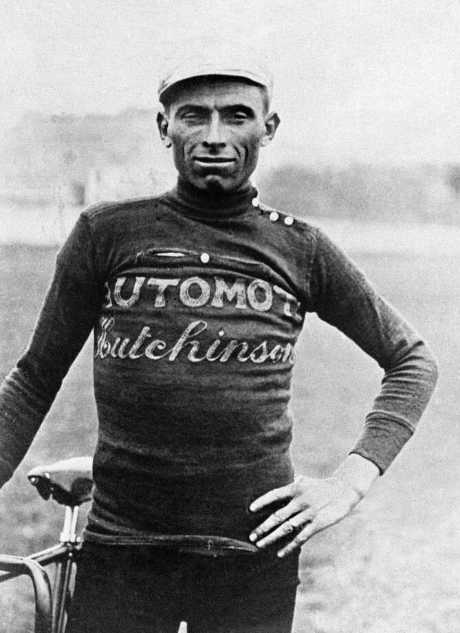 1924: Portrait of Italian cyclist Ottavio Bottecchia taken in the mid 20s who won the Tour de France in 1924 and 1925. Bottecchia became the first rider to wear the yellow jersey of leader during the whole Tour de France after winning the first stage between Paris and Le Havre 22 June 1924. Photo: STAFF, AFP/Getty Images / AFP