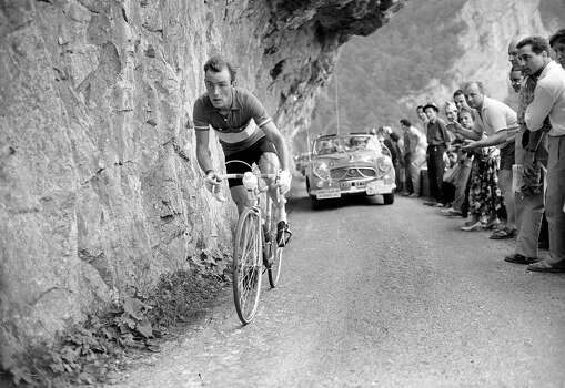 1955: Cyclist Charly Gaul from Luxembourg racing in the Tour de France. Photo: Roger Viollet, Roger Viollet/Getty Images / 2007 Roger Viollet