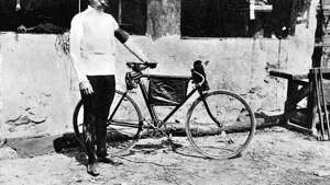 1903: French racing cyclist Maurice Garin, winner of the first Tour de France.