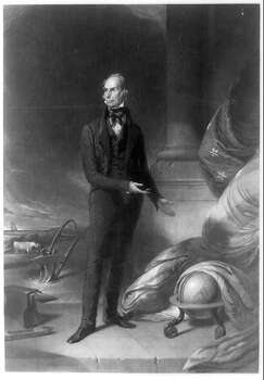 The globe and cloak1843 - Henry Clay: Henry Clay was another American politician who saw his career sink for opposing Texas annexation. Here, his official Whig Party presidential candidate portrait depicts a cloak draping the globe, believed by some to be a reference to his isolationist and anti-Texas views.