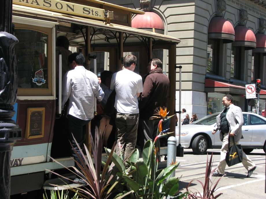 Cable car,  Powell St.; a National Historic Landmark that moves,  lovingly preserved and still in use