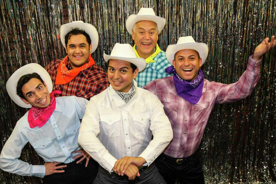"The cast of the Woodlawn Theatre's ""When Pigs Fly"" features, clockwise from left, Rick Sanchez, Gerardo Vallejo, Kevin Murray, Michael J. Gonzalez and Isidro Medina. Courtesy Woodlawn Theatre Photo: Courtesy Woodlawn Theatre"