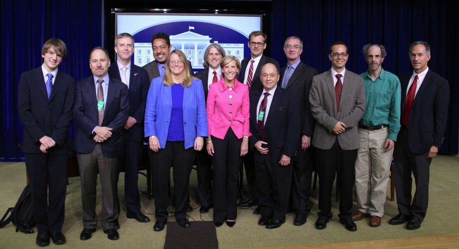 "Kathy Giusti of New Canaan, front center, was one of 13 people named ""Champions of Change"" by the White House. Photo: Contributed"