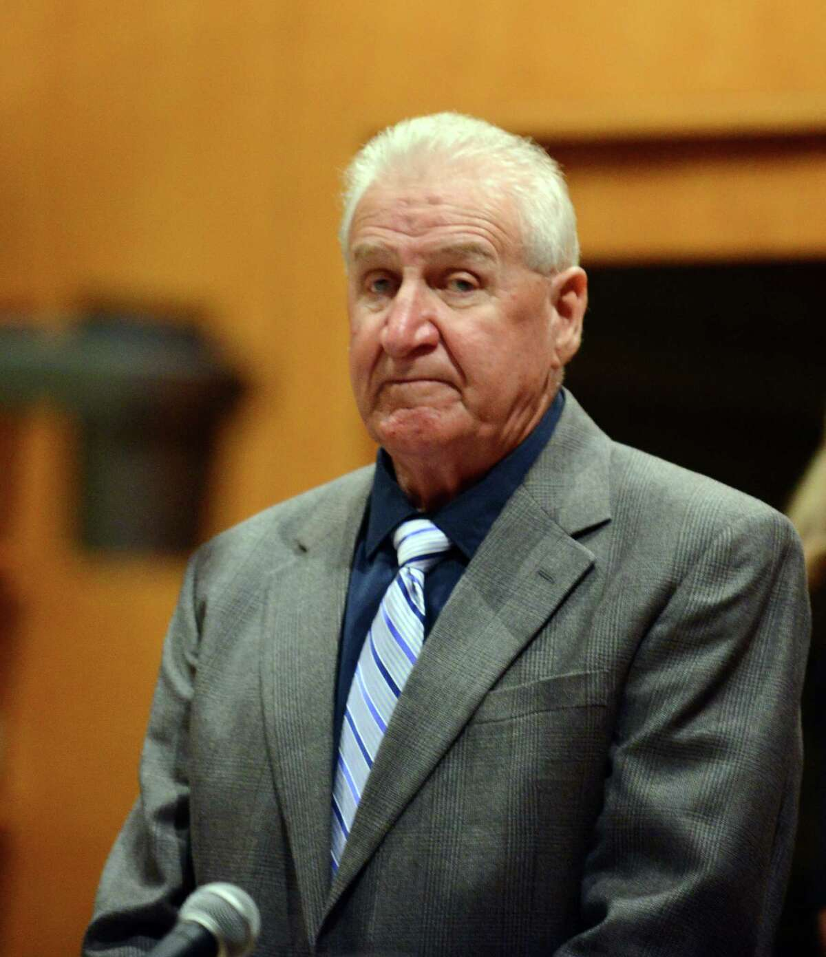 Dominic Badaracco Sr. stands in court on the second day of his trial in Bridgeport Superior Court, in Bridgeport, Conn., Tuesday, June 25, 2013. Badaracco is accused of offering a $100,000 bribe to Judge Robert Brunetti in 2010.