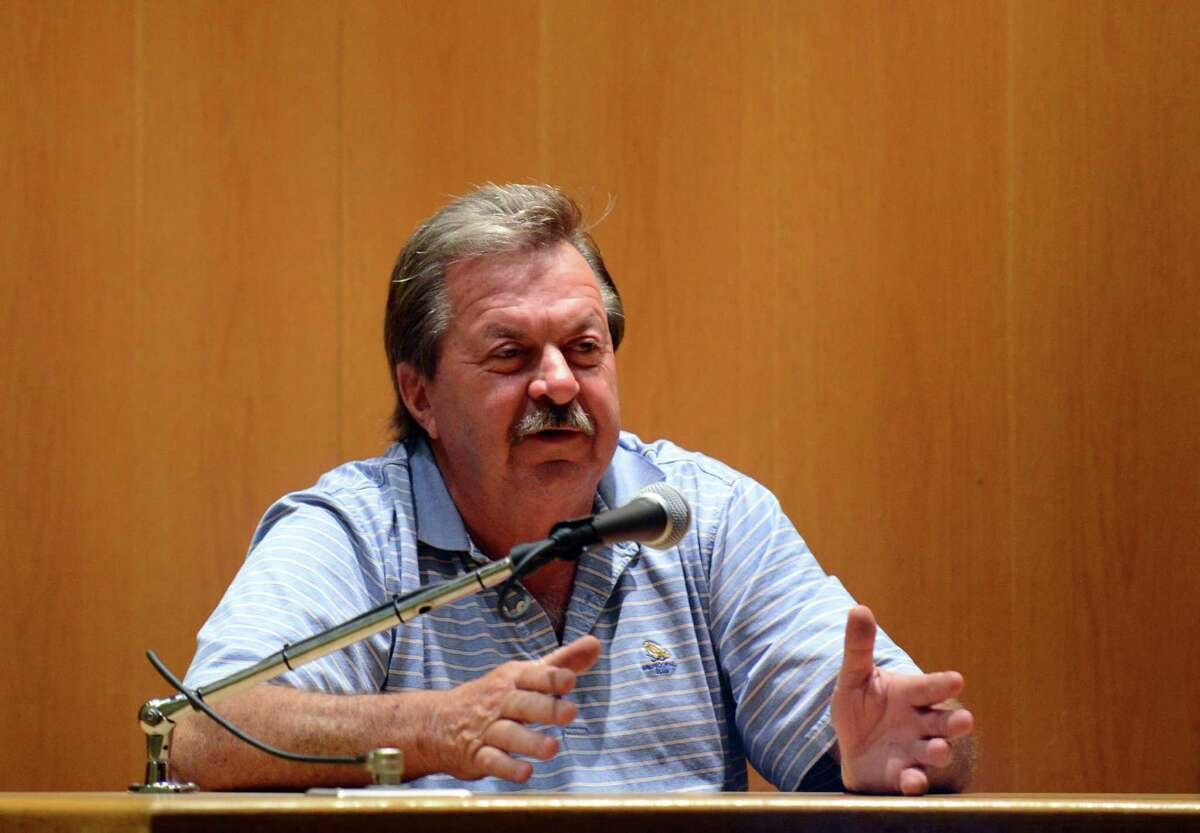 """Ronald """"Rocky"""" Richter testifies at the trial of Dominic Badaracco Sr. in Bridgeport Superior Court, in Bridgeport, Conn., Tuesday, June 25, 2013. Badaracco is accused of offering a $100,000 bribe to Judge Robert Brunetti in 2010."""