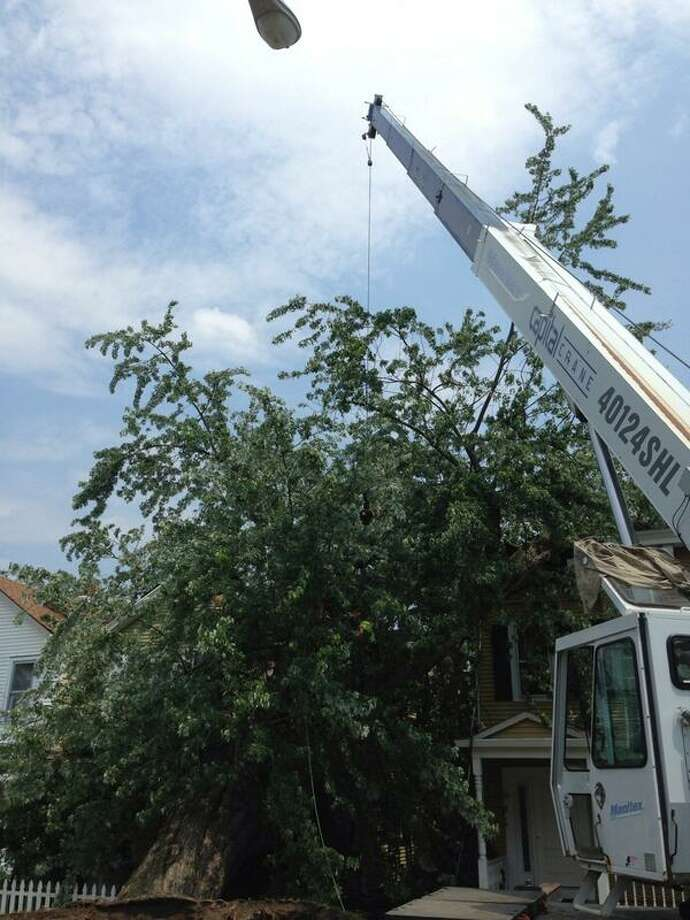 A crane removes a tree that fell on a house in Rensselaer when storms swept through the region on Monday, June 24, 2013. (Skip Dickstein / Times Union)