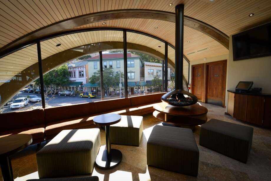 The lounge overlooks the main drag of Sausalito.