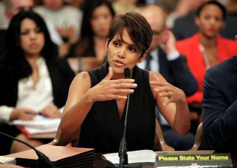 Actress Halle Berry testifies before the Assembly Committee on Public Safety at the Capitol in Sacra
